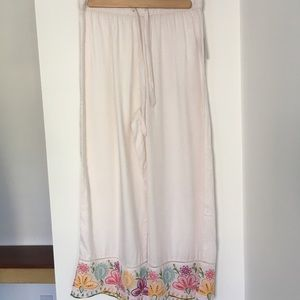 Anthropologie White Embroidered Wide Leg Pants S